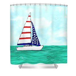 Shower Curtain featuring the painting Stars And Strips Sailboat by Darice Machel McGuire