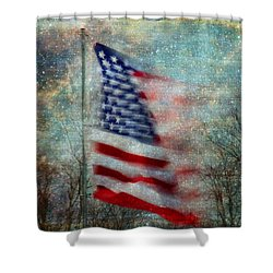 Shower Curtain featuring the photograph Stars And Stripes American Flag Artistic Liberty by Clare VanderVeen