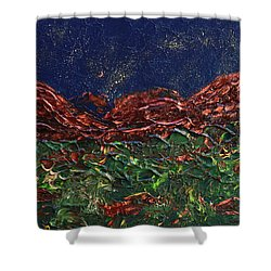Stars Falling On Copper Moon Shower Curtain by Donna Blackhall