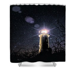Stars Over Nobska Lighthouse Shower Curtain