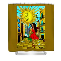 Shower Curtain featuring the painting Starting A New Day by Don Pedro De Gracia