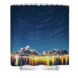 Startrails Above Reine Shower Curtain