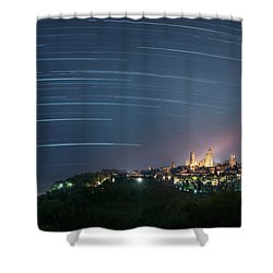 Startrails Over San Gimignano Shower Curtain