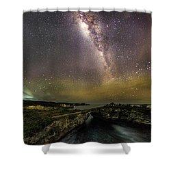 stary night in Broken beach Shower Curtain