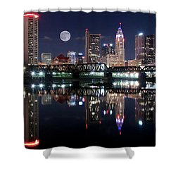 Shower Curtain featuring the photograph State Capitol Full Moon by Frozen in Time Fine Art Photography