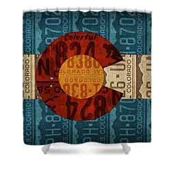 State Flag Of Colorado Recycled License Plate Art Shower Curtain by Design Turnpike