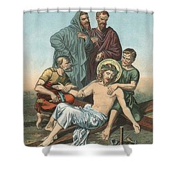 Station Xi Jesus Is Nailed To The Cross Shower Curtain by English School