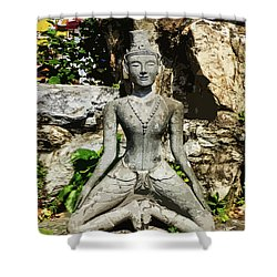 Statue Depicting A Thai Yoga Pose Shower Curtain