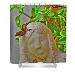Statue Lizard  Shower Curtain