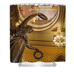 Statue Of Genius Vertical Shower Curtain