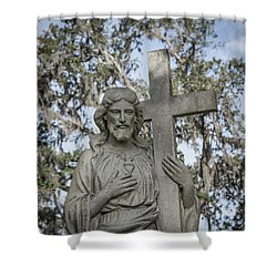 Shower Curtain featuring the photograph Statue Of Jesus And Cross by Kim Hojnacki