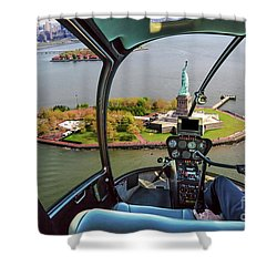Statue Of Liberty Helicopter Shower Curtain