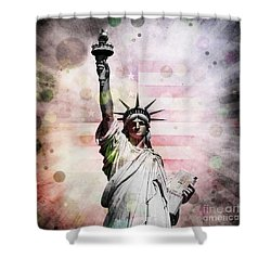 Shower Curtain featuring the digital art Statue Of Liberty by Phil Perkins
