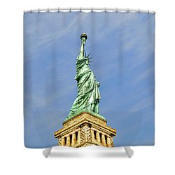 Statue Of Liberty Shower Curtain by Randy Aveille