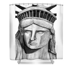Statue Of Liberty Selfie Shower Curtain