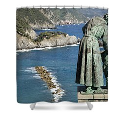 Statue Of Saint Francis Of Assisi Petting A Dog  Shower Curtain