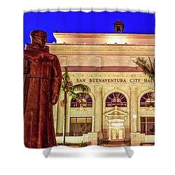 Statue Of Saint Junipero Serra In Front Of San Buenaventura City Hall Shower Curtain by John A Rodriguez