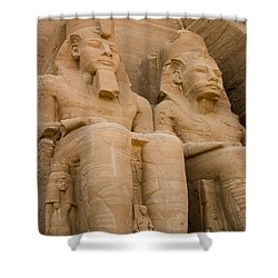 Statues At Abu Simbel Shower Curtain by Darcy Michaelchuk