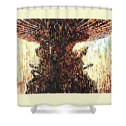 Shower Curtain featuring the painting Statues On Las Vegas Fountain- Las Vegas, Nevada by Ryan Fox