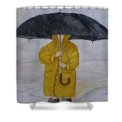 Under Daddy's Umbrella Shower Curtain by Kelly Mills