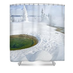 Steam And Snow Shower Curtain by Gary Lengyel
