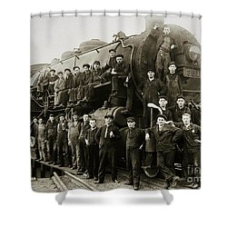Steam Engine 351 On Turntable Coxton Yards Coxton Pennsylvania Early 1900s Shower Curtain