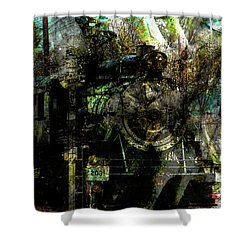 Steam Engine At Bay Shower Curtain by Robert Ball