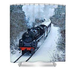 Steam Locomotive 73129 In Snow Shower Curtain