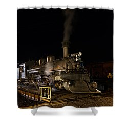 Locomotive And Coal Tender On A Turntable Of The Durango And Silverton Narrow Gauge Railroad Shower Curtain by Carol M Highsmith