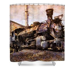 Shower Curtain featuring the digital art Steam Locomotive by Ian Mitchell