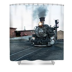 Steam Locomotive In The Train Yard Of The Durango And Silverton Narrow Gauge Railroad In Durango Shower Curtain by Carol M Highsmith