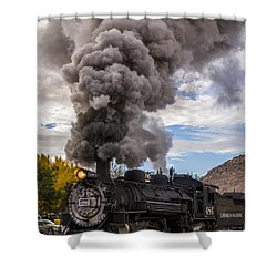 Shower Curtain featuring the photograph Steam Locomotive by Jerry Cahill