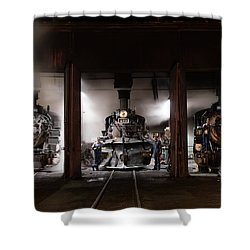 Steam Locomotives In The Roundhouse Of The Durango And Silverton Narrow Gauge Railroad In Durango Shower Curtain by Carol M Highsmith