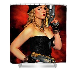 Steam Punk Gun Figther Shower Curtain