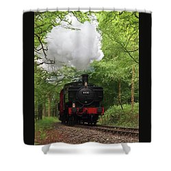 Steam Train Approaching In The Forest Shower Curtain by Gill Billington