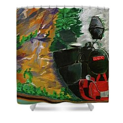 Shower Curtain featuring the pastel Steam Train by Manuela Constantin