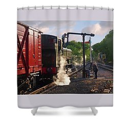 Steam Train Taking On Water Shower Curtain by Gill Billington