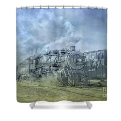 Shower Curtain featuring the digital art Steam Train Toned by Randy Steele