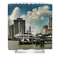 Steamboat And Big Buildings Shower Curtain