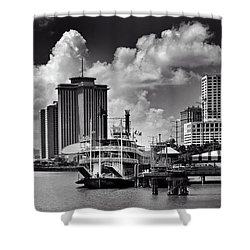 Steamboat And Big Buildings In Black And White Shower Curtain