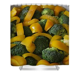 Shower Curtain featuring the photograph Steamed Broccoli And Peppers by Vadim Levin