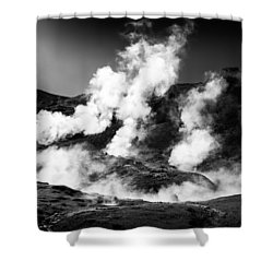 Shower Curtain featuring the photograph Steaming Iceland Black And White Landscape by Matthias Hauser
