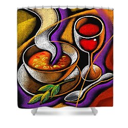 Steaming Supper Shower Curtain by Leon Zernitsky
