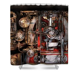 Steampunk - Check The Gauges  Shower Curtain by Mike Savad