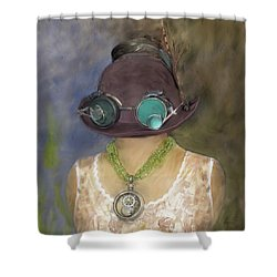 Steampunk Beauty With Hat And Goggles - Square Shower Curtain