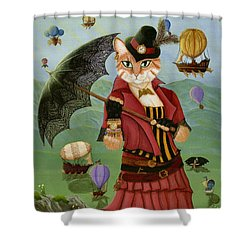 Shower Curtain featuring the painting Steampunk Cat Gal - Victorian Cat by Carrie Hawks
