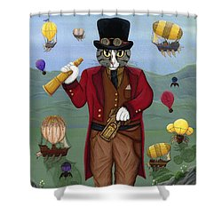 Shower Curtain featuring the painting Steampunk Cat Guy - Victorian Cat by Carrie Hawks