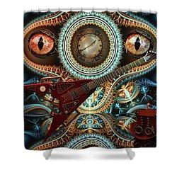 Shower Curtain featuring the digital art Steampunk Guitar by Louis Ferreira