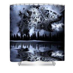 Steampunk Polar Bear Landscape Shower Curtain