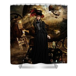 Shower Curtain featuring the digital art Steampunk Time Traveler by Shanina Conway